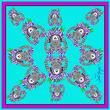 Debbie Millington Jester Ram Turquoise Silk Scarf  45cm