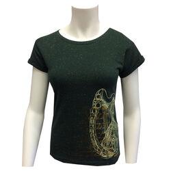 Irish Memories Bottle Green/Mustard Speckled Ladies Top With Harp