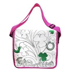 Traditional Craft Kids White/Pink Shamrocks Colour Me Bag  One Size