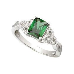 Solvar S/S Green CZ Trinity Knot Ring