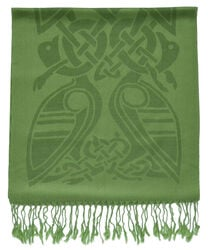 Patrick Francis Forest Green Celtic Design Wool Scarf