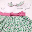 Traditional Craft Kids White/Overall Print Shamrock Pink Bow Kids Dress   1/2