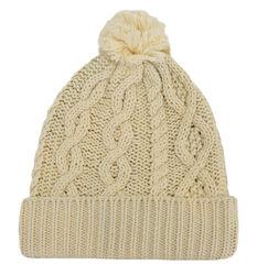 Patrick Francis Cream Aran Knitted Pom-Pom Hat