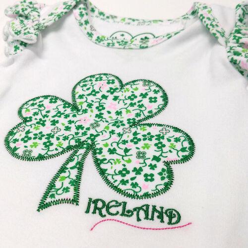 Traditional Craft Kids Green / White Stripe Sequin Shamrock Kids Socks