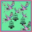 Debbie Millington Birdcage and Parrots Silk Scarf  45cm