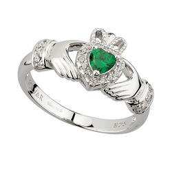 Solvar  S/S Green CZ Heart Claddagh Ring