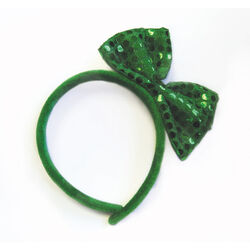 St Patrick Glitter Bow on Hairband