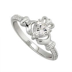 Solvar  S/S CZ Claddagh Birthstone Ring April