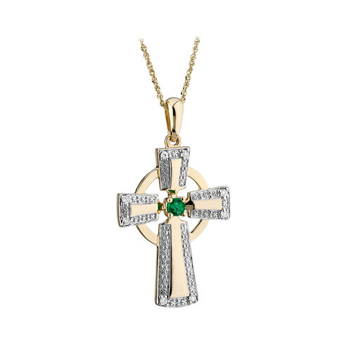 Solvar  14K Diamond & Emerald Cross Pendant