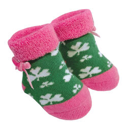 Traditional Craft Kids Green Pink Shamrock Baby Booties