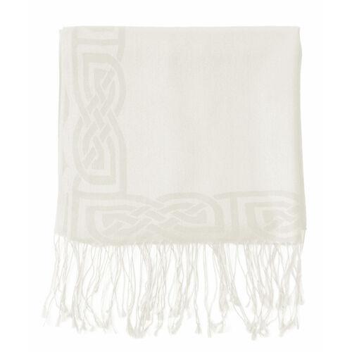 Patrick Francis White Wool Blend Pashmina with Celtic Design