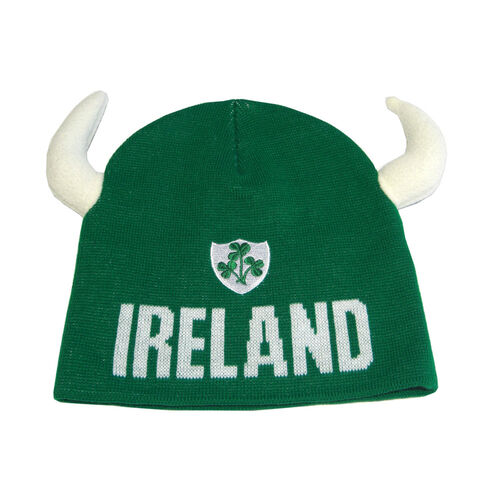 Lansdowne Adults Green Adults Ireland Knitted Hat With Horns