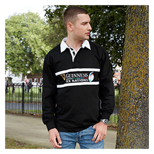 Guinness Black 6 Nations Long Sleeve Rugby  L