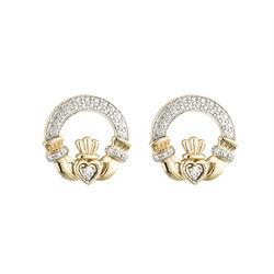 Solvar  14K Diamond Claddagh Earrings