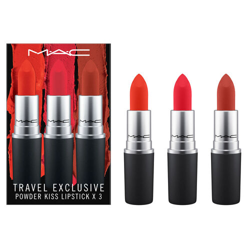 MAC Powder Kiss Lipstick  Travel Exclusive x3