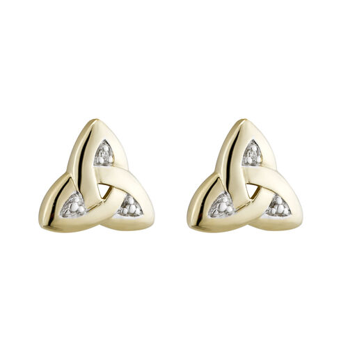 Solvar  14K Trinity Knot Diamond Stud