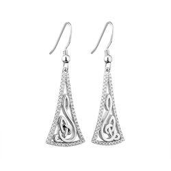 Solvar  S/S CZ Long Celtic Drop Earrings