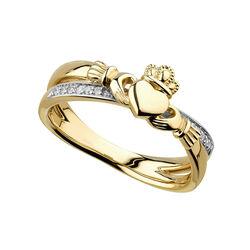 Solvar  14K Diamond Claddagh Crossover Ring