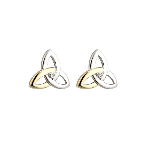 Solvar Silver 10K Gold & Dia Trinity Stud Earrings