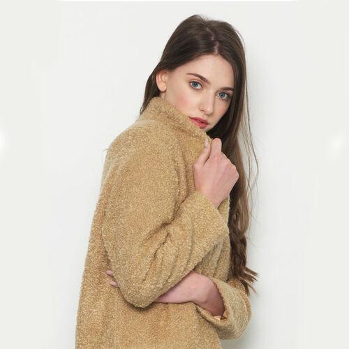 Avoca Mohair Wool Blend Boyfriend Coat in Camel - Medium