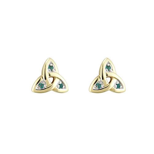 Solvar 14K Emerald Trinity Knot Stud