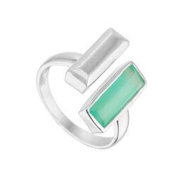 Juvi Designs Manhattan Bar Ring Silver Aqua Size 8