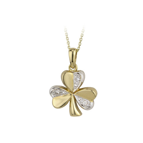 Solvar 14K Two Tone Diamond Shamrock Pendant