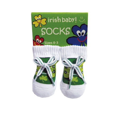 Traditional Craft Kids White Green Booties Baby Socks
