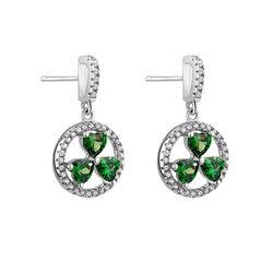 Solvar  S/S Green CZ Shamrock Circle Stud Earrings