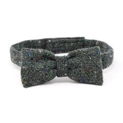 Hanna Hats Bow Tie Tweed Dark Green Fleck Salt & Pepper