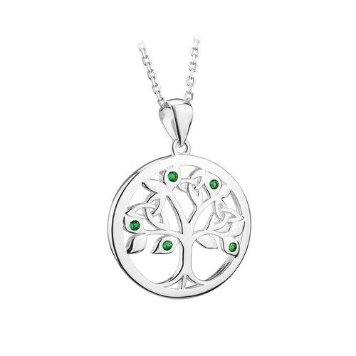 Solvar  S/S Crystal Tree Of Life Pendant