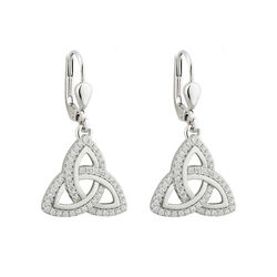 Solvar  S/S CZ Trinity Knot Drop Earrings