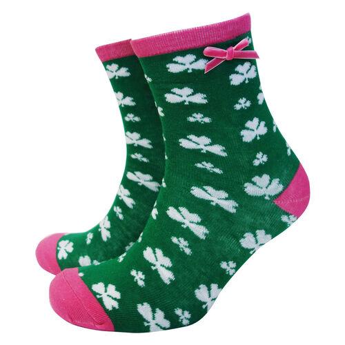 Traditional Craft Kids Green Pink Shamrock Ladies Socks