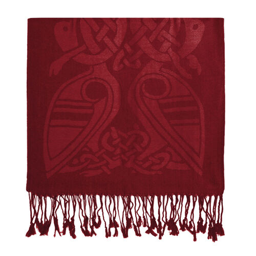 Patrick Francis Red Celtic Design Wool Scarf