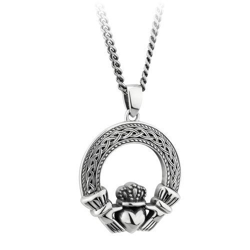 Solvar Silver Oxidised Celtic Claddagh Pendant