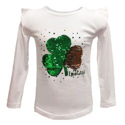 Traditional Craft Kids White Two Way Shamrock Sequin Long Sleeve Top