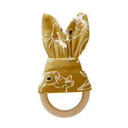 Fauna Kids Teether With Rabbit Print & Wooden Ring One Size