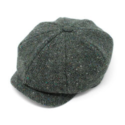 Hanna Hats JP Cap Tweed Dark Green Fleck Salt & Pepper