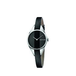 Calvin Klein Rebel Leather Strap Watch Ladies Black