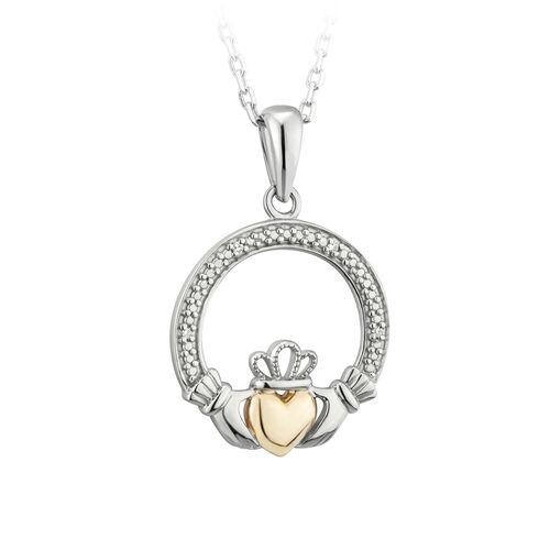 Solvar  Silver 10K Gold Diamond Claddagh Pendant