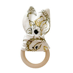 Fauna Kids Teether With Hedgehog Print & Wooden Ring One Size