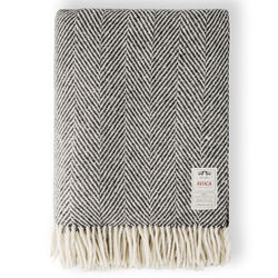 Avoca Heavy Herringbone Throw in Grey Woven in the Avoca Mill in Ireland