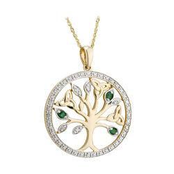 Solvar 14K Diamond & Em Tree Of Life Pendant