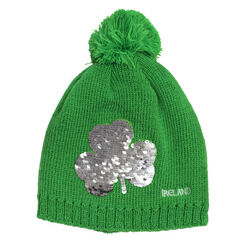 Traditional Craft Kids Green Kids Knit Bobble Hat With Two Way Shamrock Sequin