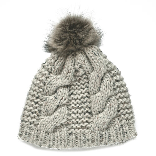 Patrick Francis Oatmeal Speckled Wool Hat With Fur Bobble