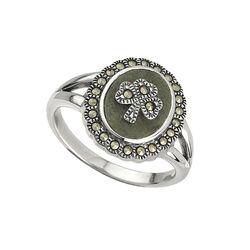 Solvar  S/S Marcasite Shamrock Marble Ring