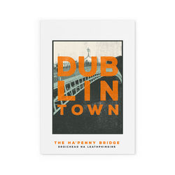 Jando  Dublin Town Ha'Penny Bridge Small Print A4