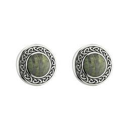 Solvar  S/S Marble Round Celtic Stud Earrings