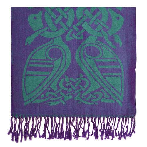 Patrick Francis Purple & Green Celtic Design Wool Scarf