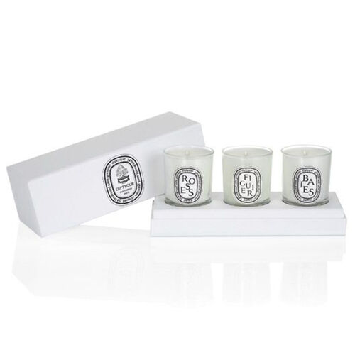 Diptyque Mini Candles Set  Berries, Fig Tree, Roses 70g